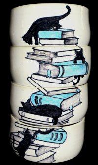 4 bols décor livres-chats